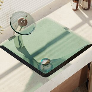 Compare Glass Square Vessel Bathroom Sink with Faucet By René By Elkay