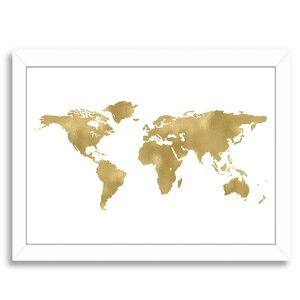 World Map Gold Framed Graphic Art by East Urban Home