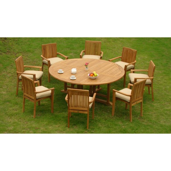 Elim Luxurious 9 Piece Teak Dining Set by Rosecliff Heights