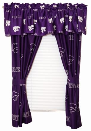 NCAA Kansas State Printed Sports Rod Pocket Curtain Panels (Set of 2) by College Covers
