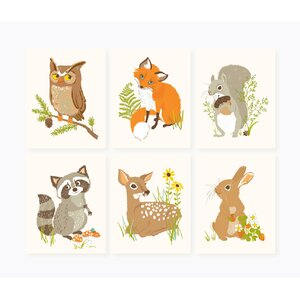 6 Piece Forest Friends Paper Print Set by Sea Urchin Studio