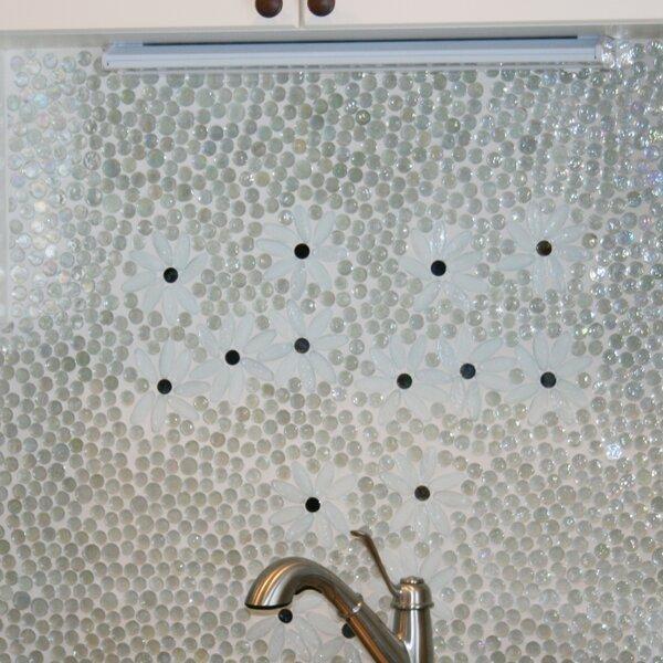 Signature Line Daisy Gardens Glass Mosaic Tile in White by Susan Jablon