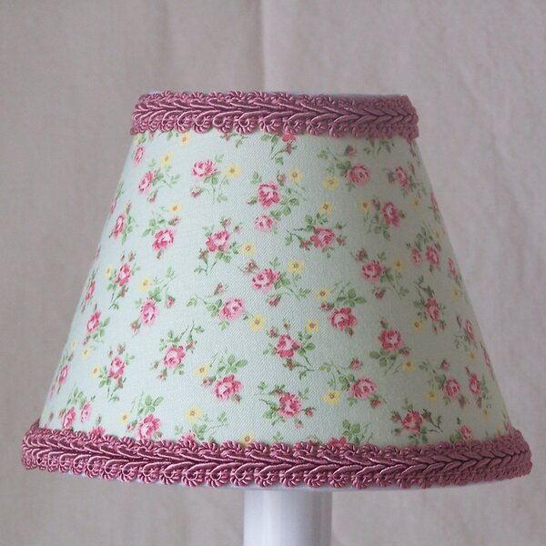 Rosebud Bliss 4 H Fabric Empire Candelabra Shade ( Clip On ) in Green/Pink