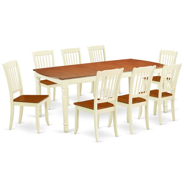 Best #1 Kollman 9 Piece Extendable Solid Wood Dining Set By August Grove Purchase