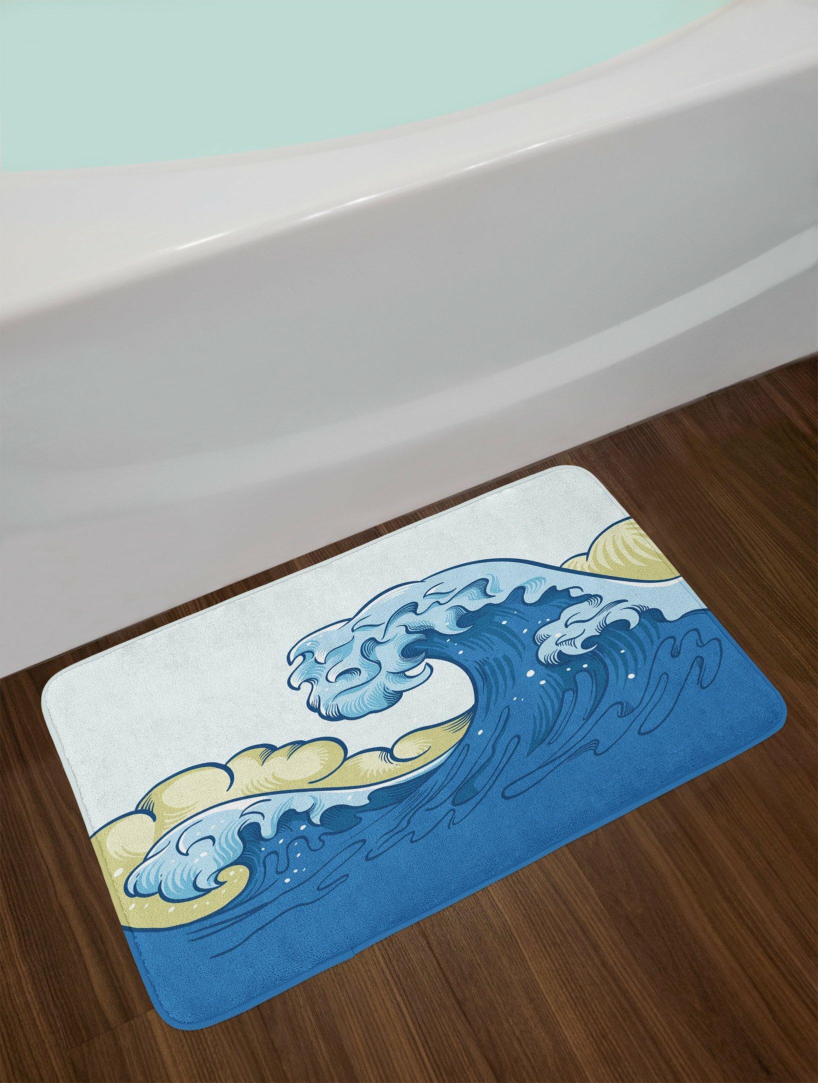 East Urban Home Cartoon Khaki Blue Pale Blue Japanese Wave Bath Rug ...