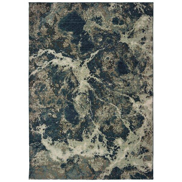 Roisin Power Loom Wool Gray/Navy/Teal Rug