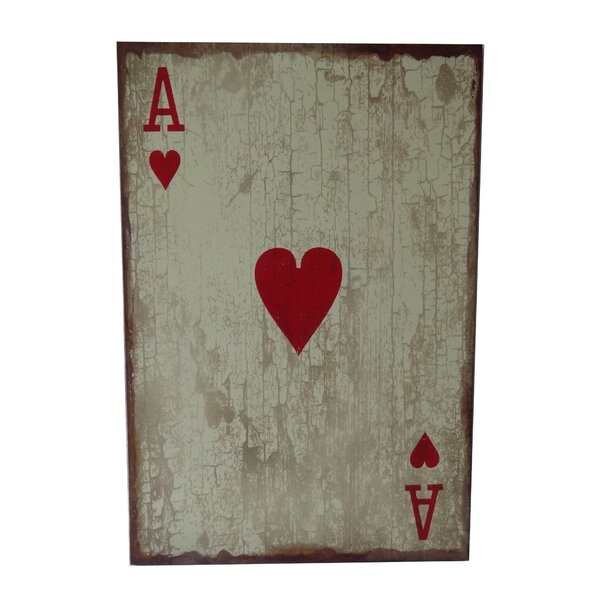 Wooden Ace of Hearts Graphic Art Plaque by Cheungs