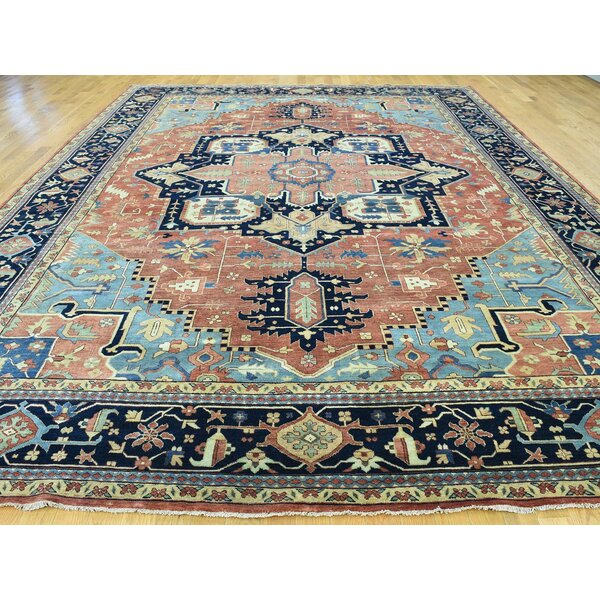 One-of-a-Kind Beare Antiqued Serapi Re-creation Handwoven Red Wool Area Rug by Isabelline