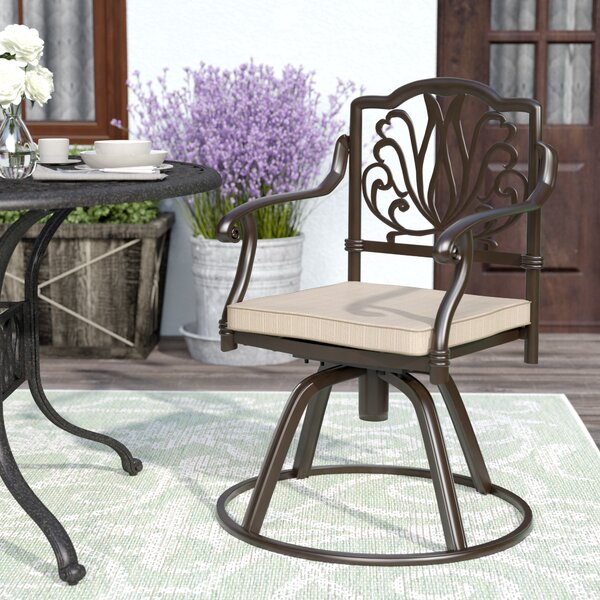 Arrey Swivel Patio Dining Chair with Cushion by One Allium Way