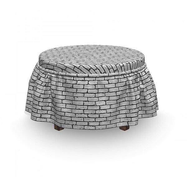 Review Retro Brick Wall 2 Piece Box Cushion Ottoman Slipcover Set