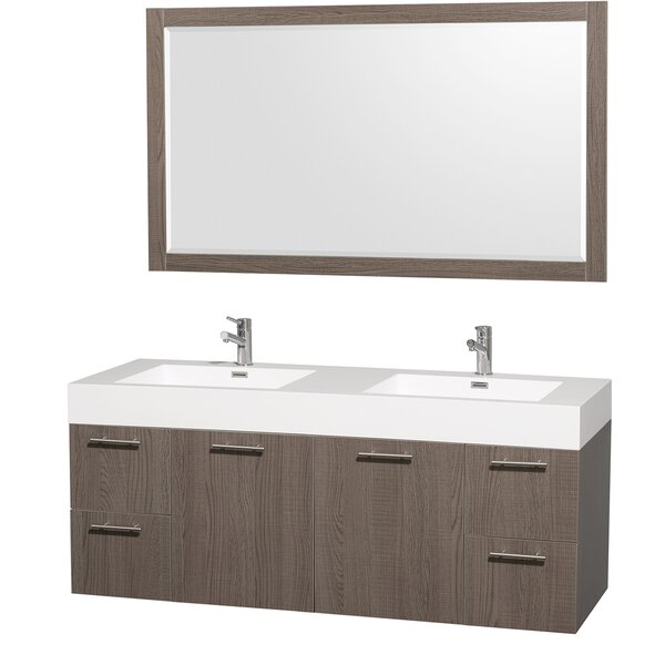 Amare 60 Double Gray Oak Bathroom Vanity Set with Mirror by Wyndham Collection