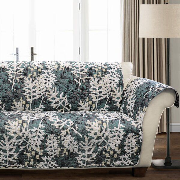 Caballero Leaves Box Cushion Loveseat Slipcover by Millwood Pines