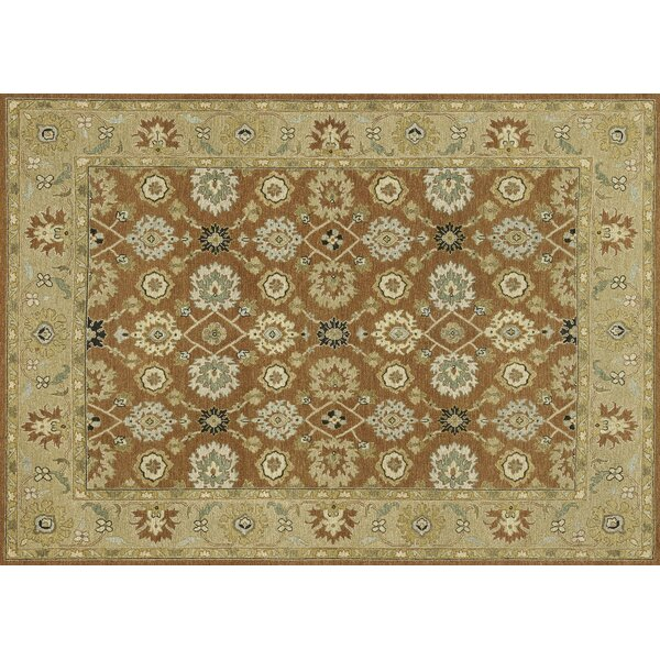 Keiser Hand-Knotted Redwood/Beige Area Rug by Alcott Hill