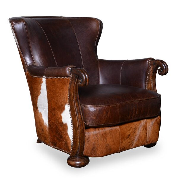Blondell Hide Wingback Chair by Darby Home Co