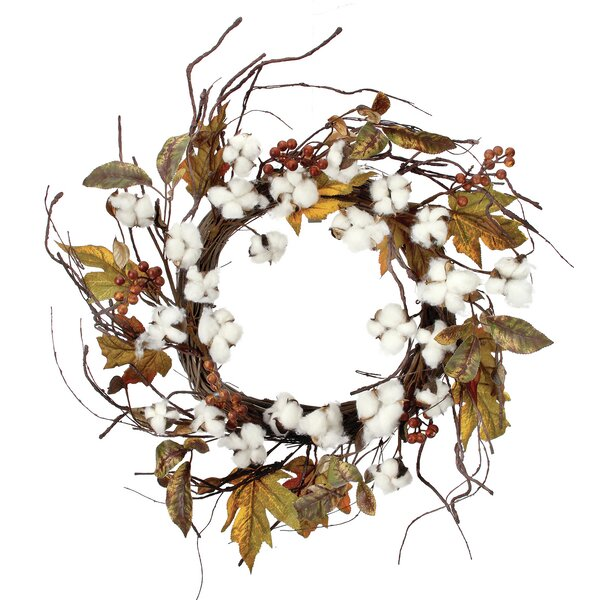 24 Harvest Cotton Berry Wreath by August Grove