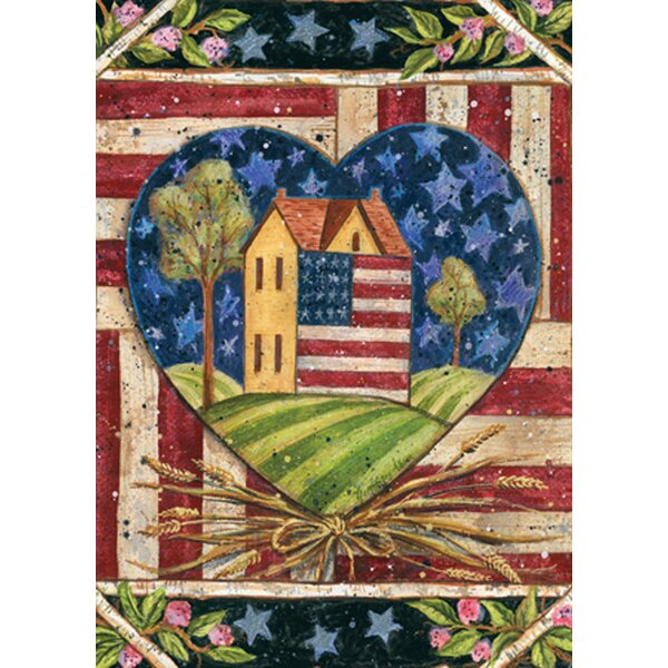 American Folk Heart Garden flag by Toland Home Garden