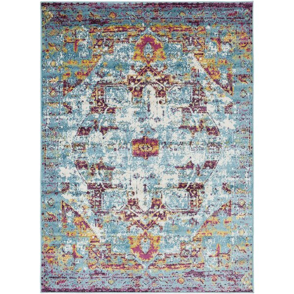 Ana Distressed Traditional Hand-Tufted Wool Aqua/Beige/Lavender Area Rug by World Menagerie