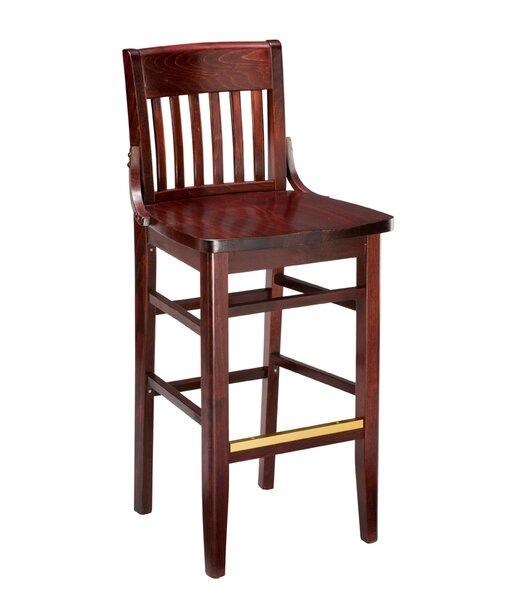 Amoroso Beechwood School House Wood Seat Bar Stool by Red Barrel Studio