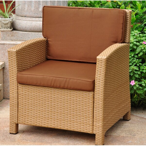Stapleton Wicker Resin Contemporary Patio Chair with Cushion by Charlton Home