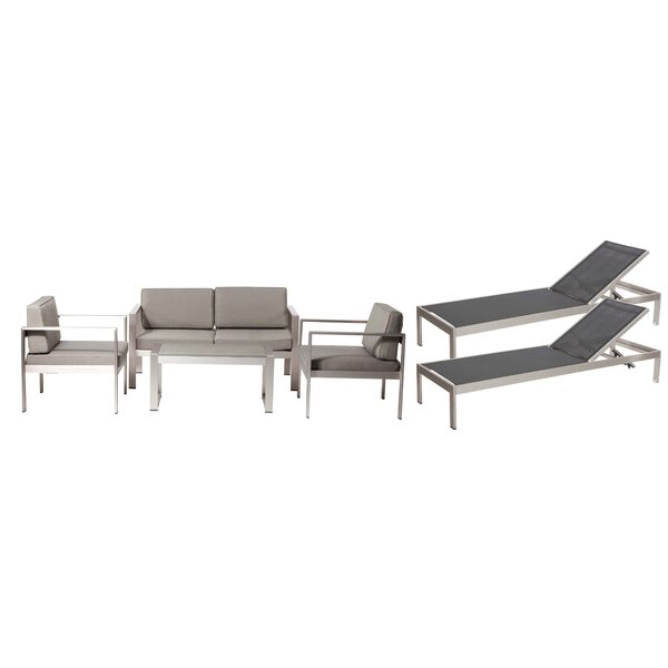 KRN LRG 6 Piece Complete Patio Set with Cushions by Rosecliff Heights