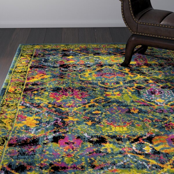 Antoine Black/Blue Area Rug by World Menagerie