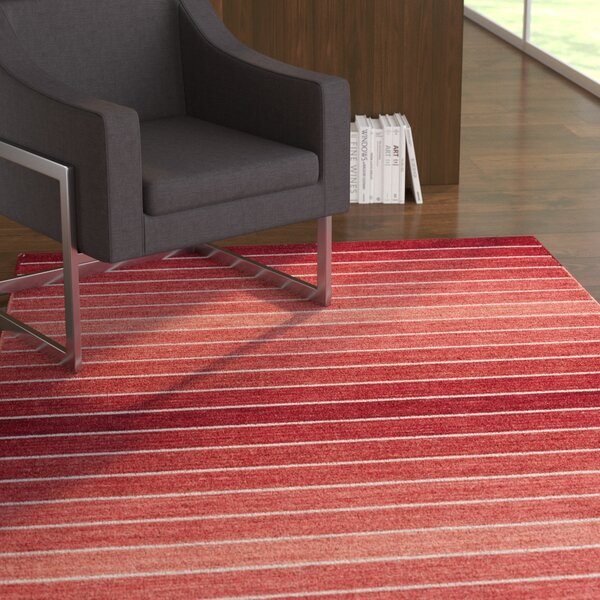 Mcdonald Hand-Loomed Red Area Rug by Ebern Designs