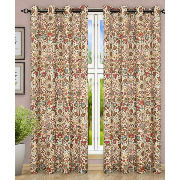 Ellis Curtain Adelle Jacobean Top Nature Floral Semi