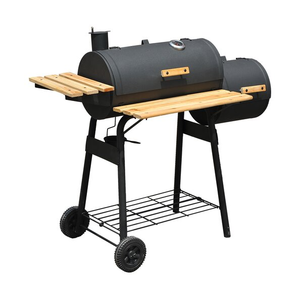 Steel Portable Backyard Offset Charcoal Smoker and Grill by Outsunny