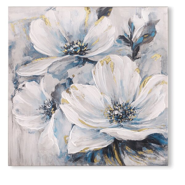 The White And Blue Lily Pad Of Flowers Oil Painting Print On Wrapped Canvas By Canora Grey.