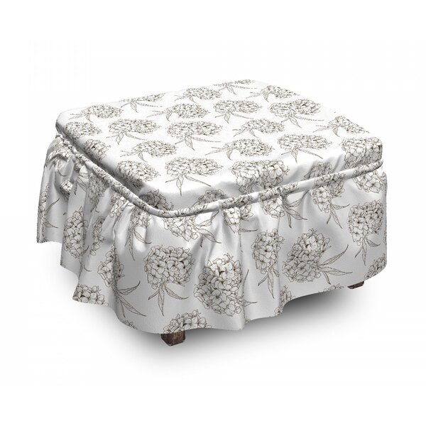 Hydrangea Flowers Bouquet Ottoman Slipcover (Set Of 2) By East Urban Home