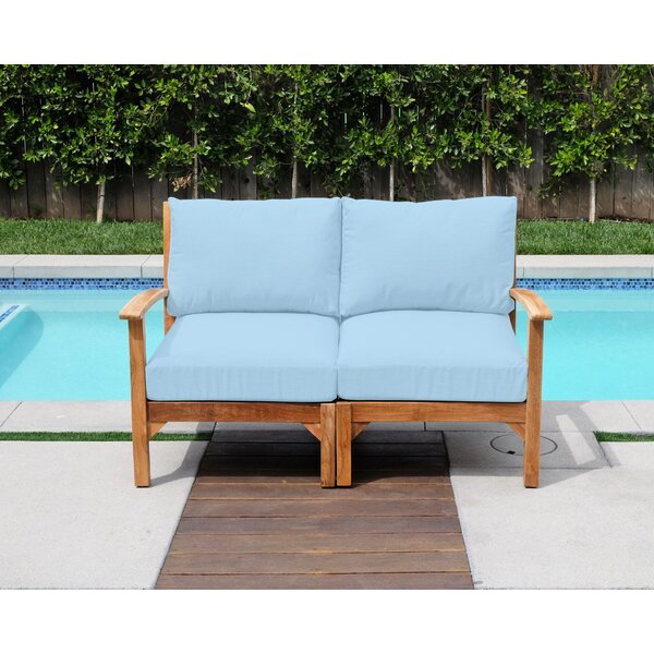 Crescio Teak Loveseat with Sunbrella Cushions by Foundry Select