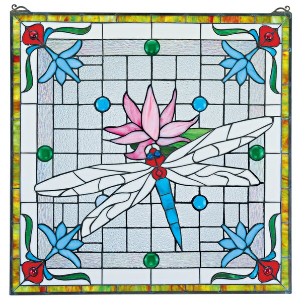 Dragonfly Pond Stained Glass Window by Design Toscano