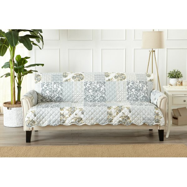 Patchwork Scalloped Printed Sofa Box Cushion Slipcover by Winston Porter