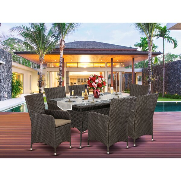 Pellegrin Outdoor 7 Piece Dining Set with Cushions by Wrought Studio