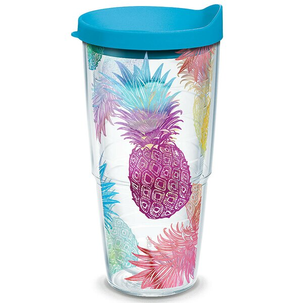 Sun and Surf Watercolor Pineapples Plastic Travel Tumbler by Tervis Tumbler