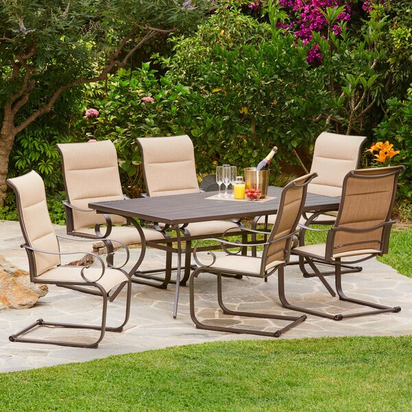 Zangerl Spring Hills Padded C-Spring 7 Piece Dining Set by Darby Home Co