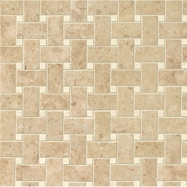 Basket Weave Polished Marble Mosaic Tile in Pasha by Grayson Martin