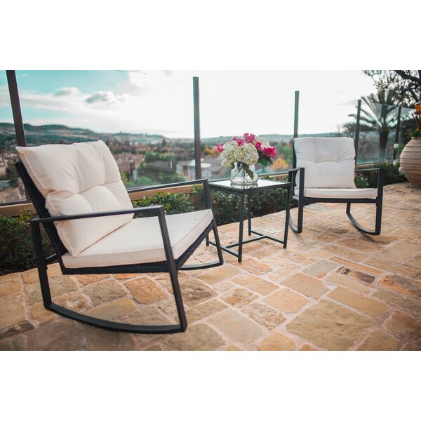 Kinzie Outdoor 3 Piece Bistro Set With Cushions By Rosalind Wheeler