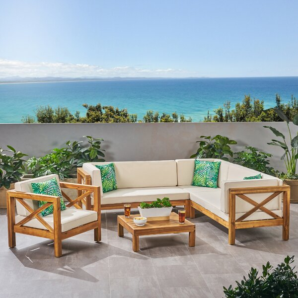 Mallie 5 Piece Teak Sectional Seating Group with Cushions by Foundry Select