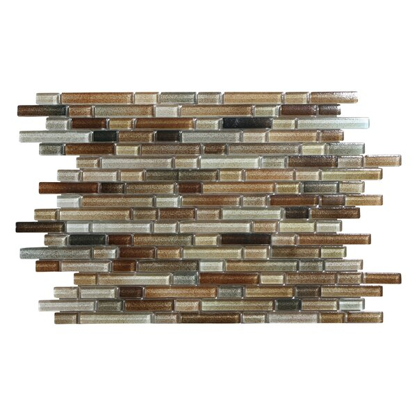 Hi-Fi Offset Linear Random Sized Glass Mosaic Tile in Brown/Beige by Kellani