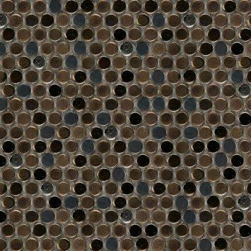 Confetti Porcelain Penny Mosaic Tile in Glazed Brown by Emser Tile