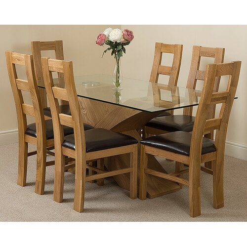 Ediz�� Solid Oak Leather Glass Dining Set with 6 Chairs