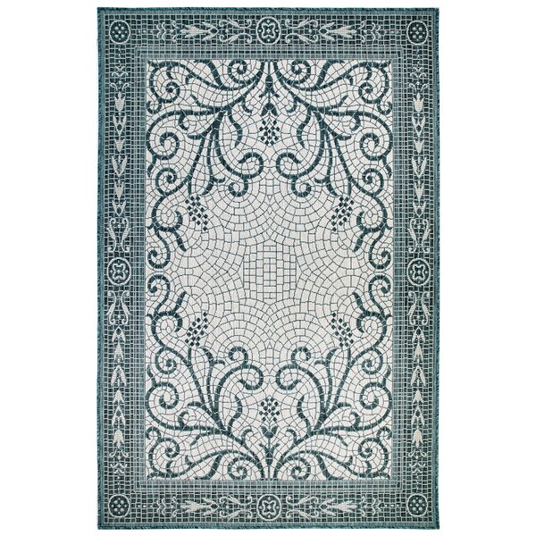 Arverne Mosaic Teal Indoor/Outdoor Area Rug by Charlton Home