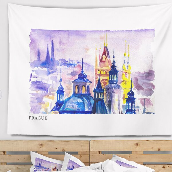 Cityscape Prague Vector Illustration Tapestry and Wall Hanging by East Urban Home