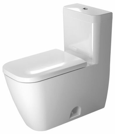 Happy D.2 Dual-Flush Elongated One-Piece Toilet with Glazed Surface (Seat Not Included) by Duravit