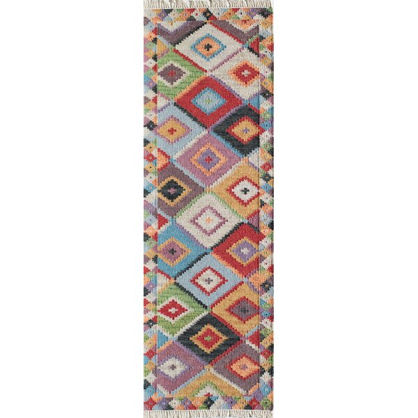 Marianne Hand-Woven Red/Blue/Beige Area Rug by Bungalow Rose