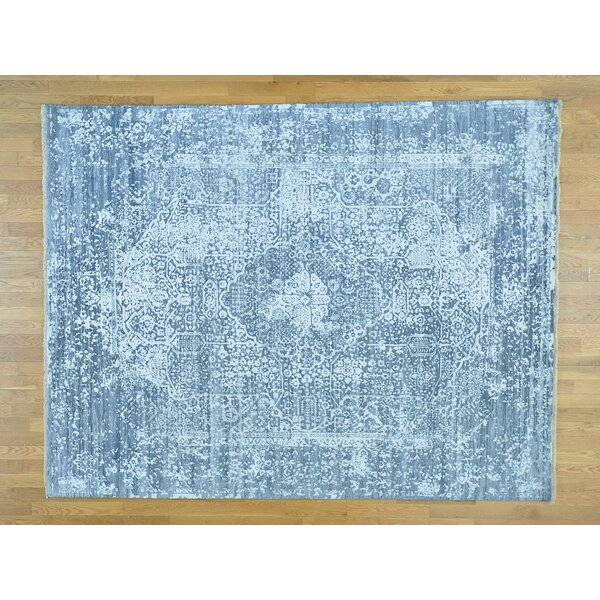 One-of-a-Kind Beane Broken Design Handwoven Grey Wool/Silk Area Rug by Isabelline