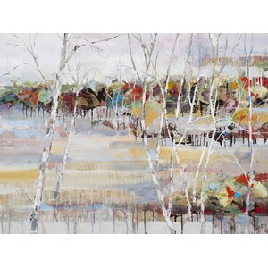 Snowy Birches by Michael Longo Painting Print on Canvas by Portfolio Canvas Decor