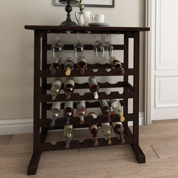 Eliza 24 Bottle Floor Wine Bottle And Glass Rack By Andover Mills