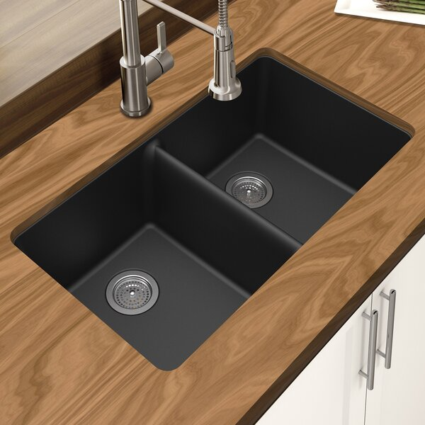 Granite Quartz 33 L x 19 W Double Bowl Undermount Kitchen Sink by Winpro